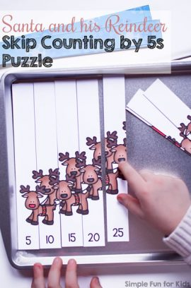 Santa and his Reindeer Skip Counting by 5s Puzzle