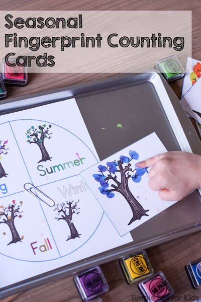 Add a fun sensory element to learning to count with these printable Seasonal Fingerprint Counting Cards! Your toddlers, preschoolers, and kindergarteners will love it!