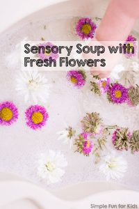 We love super simple water activities! This time, we used the water table to make sensory soup with fresh flowers - a huge hit with my toddler, and very simple to set up!
