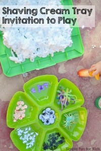 Sensory fun with E's take on my invitation to play with the shaving cream tray! Great for toddlers and preschoolers.
