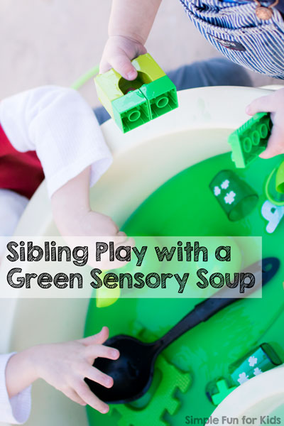 Sibling Play with Green Sensory Soup