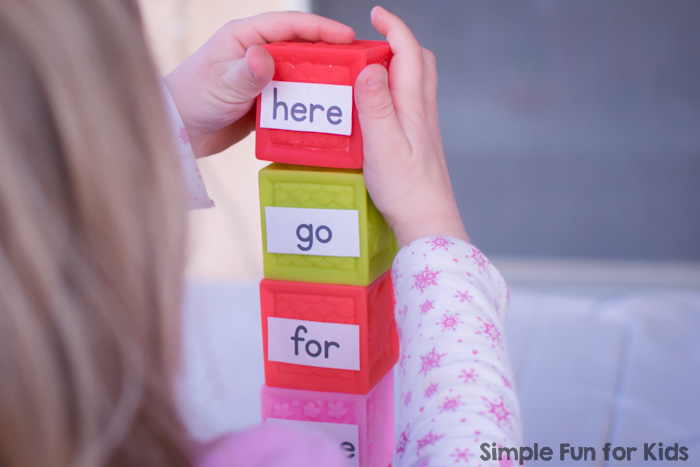 Learn and review your pre-primer words with this quick and simple Sight Word ABCs with Blocks learning activity!