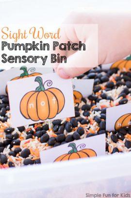 Sight Word Pumpkin Patch Sensory Bin
