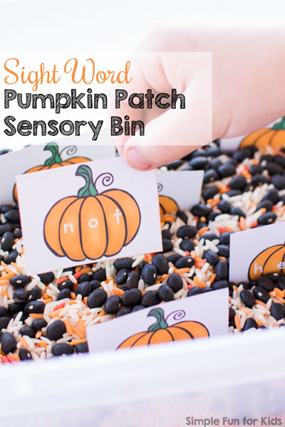 Flash cards for learning sight words? How boring! Not if you stick them in a box and make a simple Sight Word Pumpkin Patch Sensory Bin with rice and beans! My preschooler had lots of fun with it!