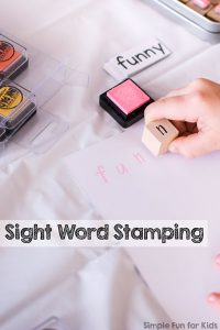 Stamping sight words was a super fun way of reviewing sight words for preschoolers and kindergarteners. It's easy to set up and do and helps to explore both new and already known sight words in a hands-on way!