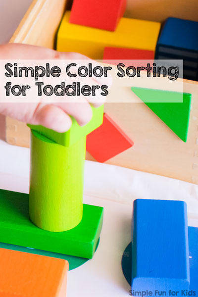 Is your toddler ready to learn his or her colors? Try this fun and simple color sorting activity perfect for toddlers with colorful wooden blocks you already have at home!