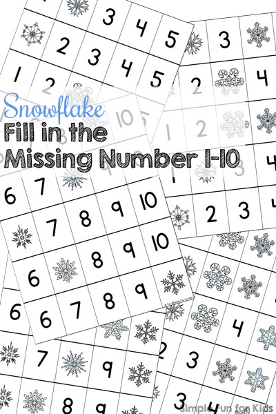 Snowflake Fill in the Missing Number 1-10 Printable