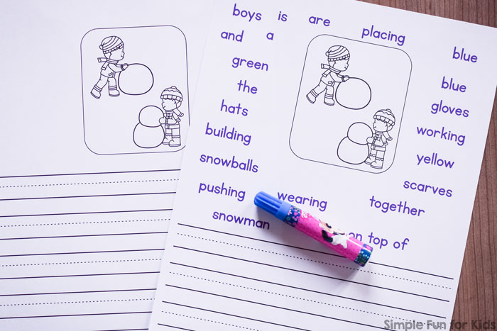 These no-prep writing prompts are perfect for beginners and include four differentiated levels of support: Snowman Building Writing Prompts for Kindergarteners, in color and black and white to save ink!