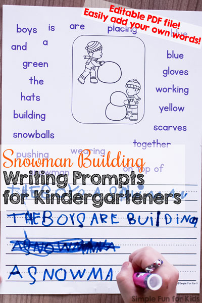 These no-prep writing prompts are perfect for beginners and include four differentiated levels of support: Snowman Building Writing Prompts for Kindergarteners, in color and black and white to save ink! And they're editable, too, so you can use your own word prompts!