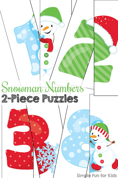 Day 4: Snowman Numbers 2-Piece Puzzles