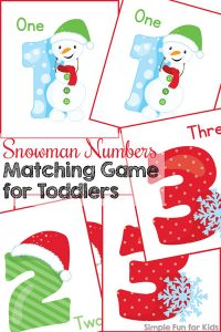 Practice basic number recognition, fine motor skills, sorting, and more with this cute Snowman Numbers Matching Game for Toddlers. (Day 10 of the 24 Days of Christmas Printables for Toddlers.)