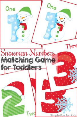 Day 10: Snowman Numbers Matching Game for Toddlers