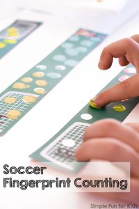 Are you looking for a fun, hands-on way to practice counting? Try this soccer fingerprint counting printable! It includes numbers 1-20 for toddlers, preschoolers, and kindergarteners!