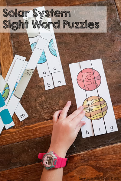 Solar System Sight Word Puzzles Simple Fun For Kids