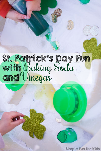We're on a roll with baking soda and vinegar activities again! Most recently, we had St. Patrick's Day fun with baking soda and vinegar.