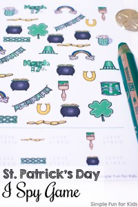 Printable games for kids: Learn counting up to 10 with this St. Patrick's Day I Spy Game! Your toddler or preschooler will have a blast with it.
