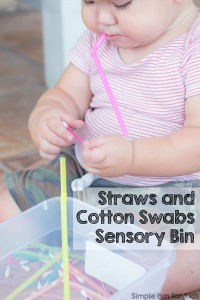 This is an awesome boredom buster for toddlers with super simple materials that you have on hand right now: Straws and Cotton Swabs Sensory Bin!