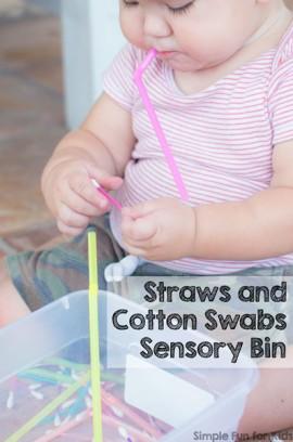 Straws and Cotton Swabs Sensory Bin