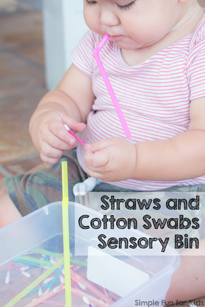 Straws and Cotton Swabs Sensory Bin