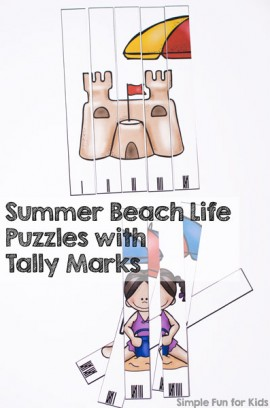 Summer Beach Life Puzzles with Tally Marks