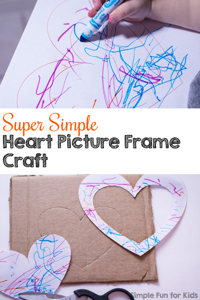 Use your toddler's artwork to make this super simple heart picture frame craft! Great for Valentine's Day or just to display a favorite photo.