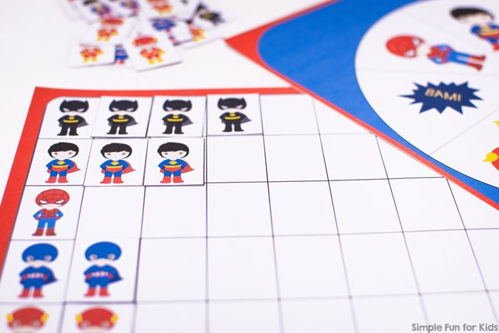 This was a super fun introduction to graphing! Spin and race superheroes to fill up the page with this printable Superhero Graphing Game Printable! Fun and educational for preschoolers and kindergarteners.