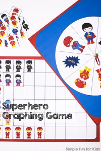 This is a super fun introduction to graphing! Spin and race superheroes to fill up the page with this printable Superhero Graphing Game Printable! Fun and educational for preschoolers and kindergarteners.