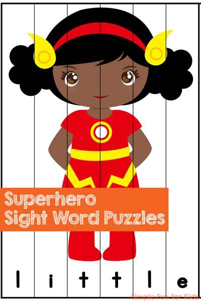 A fun, quick, and simple way of reviewing and learning pre-primer sight words: Printable Superhero Sight Word Puzzles! Perfect for preschoolers and kindergarteners.