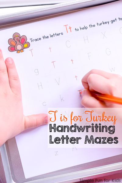 Practice writing letters with a Thanksgiving theme using these cute no-prep printable T is for Turkey Handwriting Letter Mazes! Perfect for older preschoolers and kindergarteners.