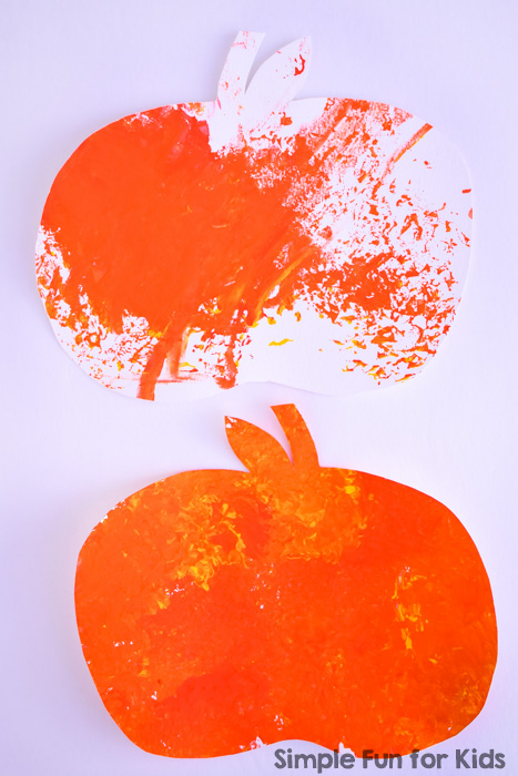 Try this simple textured apple craft with your toddler or preschooler! It was easy enough for my 2-year-old, and my 5-year-old really enjoyed being methodical with the simple technique.