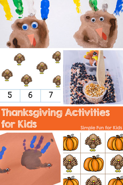 Check out all of the Thanksgiving Activities for Kids on Simple Fun for Kids! Sensory activities for toddlers, handprint crafts, printables for preschoolers, and more!