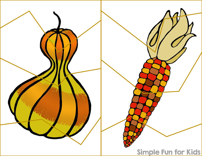 Give greater purpose to your preschooler's or kindergartener's scissor skills practice with these fun and simple printable Thanksgiving Cutting Practice Puzzles! Great fine motor practice and fun puzzles rolled into one!
