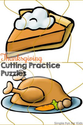 Thanksgiving Cutting Practice Puzzles Printable