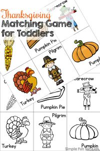 Toddlers love sorting and matching! This is a fun little printable Thanksgiving matching game that's perfect for working on matching, 1:1 correspondence, visual discrimination, visual scanning, and more!