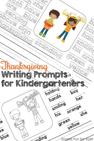 graphic about Printable Writing Prompts titled Thanksgiving Creating Prompts for Kindergarteners - Straightforward