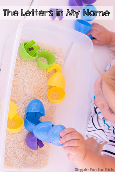 Quick and simple, hands-on, and sensory introduction to letters for toddlers: Learn the letters in my name with rice and plastic Easter eggs!