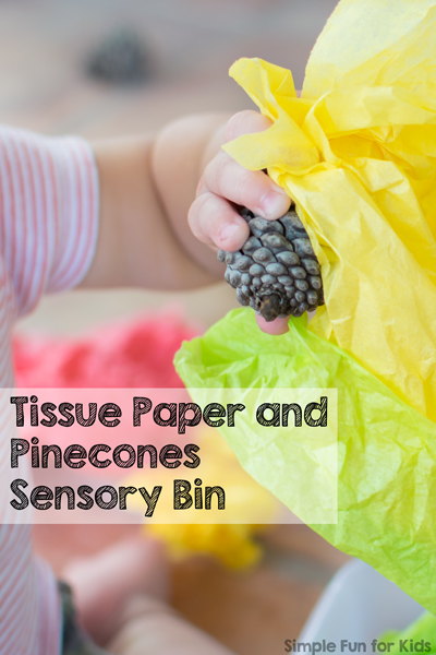 Sensory toddler fun and open-ended exploration with everyday items in a tissue paper and pine cones sensory bin!