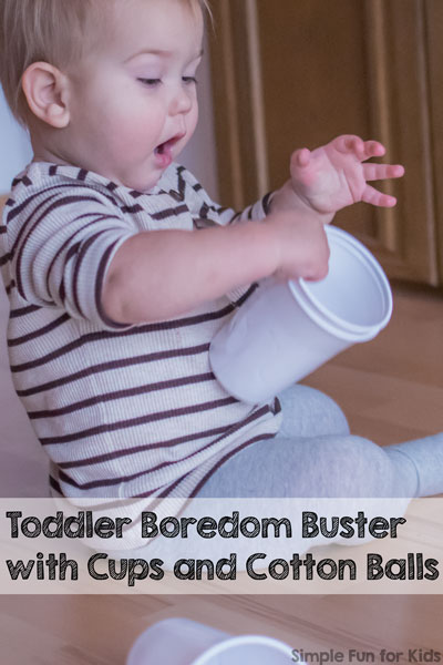 Toddler Boredom Buster with Cups and Cotton Balls
