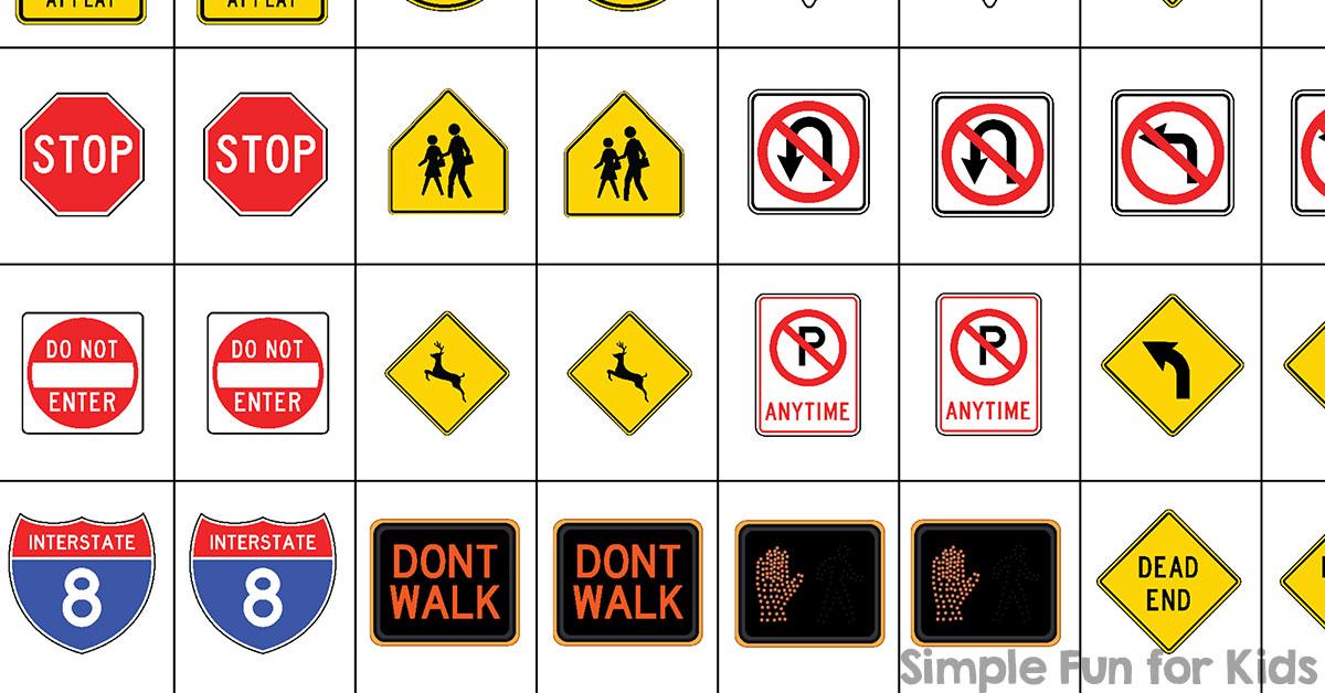 Traffic Signs Matching Game Printable