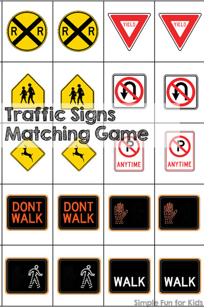 Play a game to learn about traffic signs! This printable Traffic Signs Matching Game is great for learning and reviewing the most important US traffic signs while having fun. Perfect for preschoolers, kindergartners, and even as an introduction for toddlers.