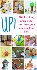 Learn a wide variety of learning concepts from literacy, math, science, art, and play with the new ebook Up! Building and playing with blocks, construction, engineering - here are 30+ easy ways to use the block corner for learning.