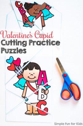 Valentine's Cupid Cutting Practice Puzzles Printable