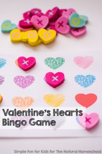 Printable Games for Kids: Play a fun bingo game with this Valentine's Hearts Bingo Game, perfect for preschoolers, kindergartners, and older kids, too! Includes four bingo cards and two ways of calling.
