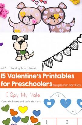 15 Valentine's Printables for Preschoolers