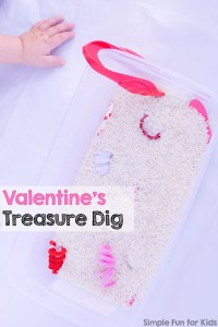 Check out my post on Living Life and Learning about my toddler's Valentine's Treasure Dig! A super simple sensory activity with rice, tweezers, and a few Valentine's themed items. Great for fine motor skills, too!