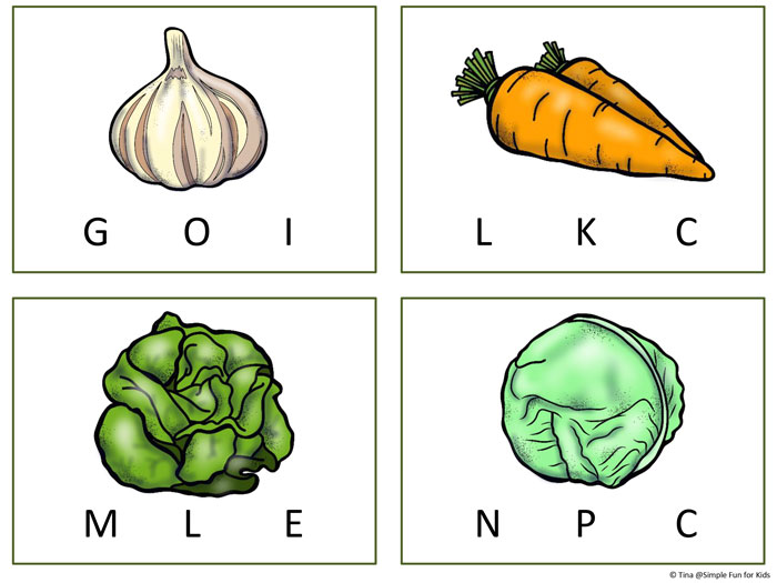Simple literacy activities for kids: Practice phonics with these Vegetable Beginning Sound Clip Cards for preschoolers and kindergartners!