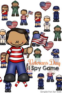 Teach your preschoolers and kindergarteners about the branches of the US military or add to your Veterans Day lessons with this simple printable Veterans Day I Spy Game! Also perfect for other patriotic holidays.