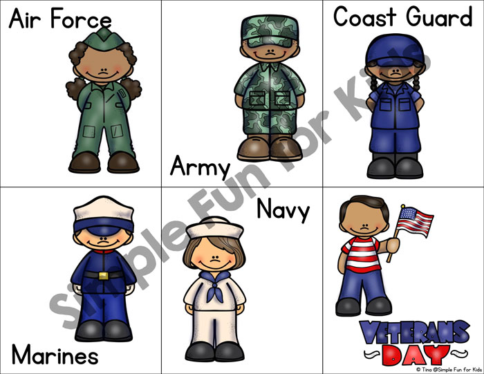Teach your toddlers about Veterans Day while working on visual discrimination, matching, one-to-one correspondence, and adding new vocabulary with this Veterans Day Matching Game! Also a great addition to lessons about the military branches of the US.