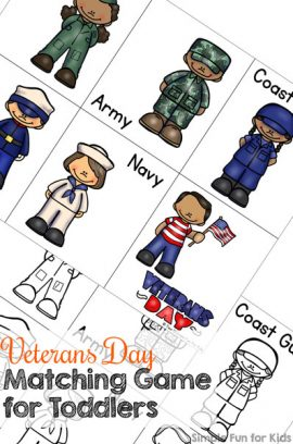 Veterans Day Matching Game for Toddlers