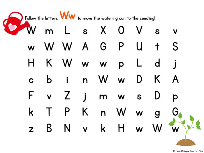 W is for Watering Can Letter Maze - Simple Fun for Kids